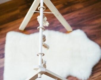 Wooden Baby Gym ↠ Natural Wood Play Gym Foldable ↠ Eco-friendly Organic Toys ↠ Scandinavian Minimalism Stylish ↠ Gentle Sensory Toys