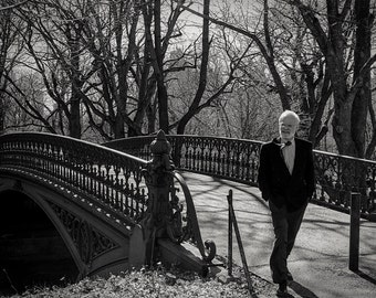 man on bridge, Central Park, NY 1997.