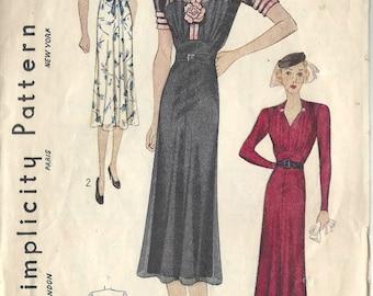 1939 Vintage Sewing Pattern B36 DRESS (1432) Simplicity 2789