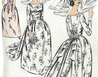 1960s Vintage Sewing Pattern B36 WEDDING or EVENING Dress & Train (1504R) By Le Roy 671