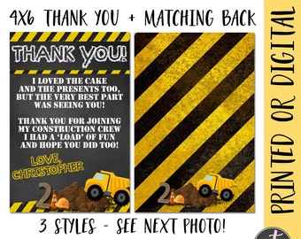 Construction Birthday Thank You, Construction Thank You, Construction Party Thank You, Dump Truck Thank You, Dumptruck Party Thank You