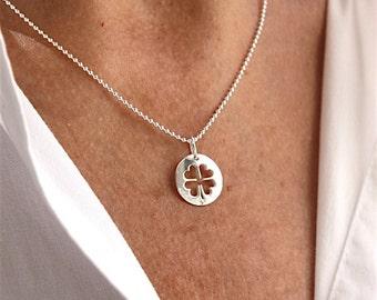 massive silver necklace medal massive openwork clover on silver ball chain