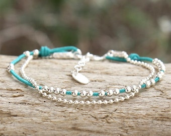 string to choose beads and 925 solid silver ball chain bracelet
