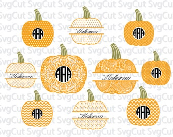 20 monogram Halloween Pumpkin set -  SVG PNG DXF Pumpkin monograms - Cutting machine pumpkins - Silhouette vector designs, Cricut pumpkins