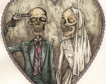 Halo - Hand Drawn Skeleton Couple Print
