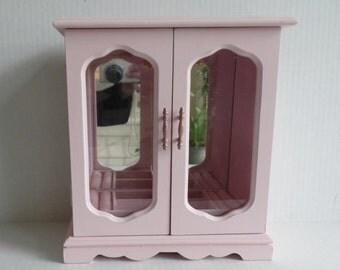 Pink Jewelry Box - Shabby Chic Distressed - Vintage Wood Armoire - Pink Distressed Finish - Jewelry Storage Cabinet - Jewelry Organizer