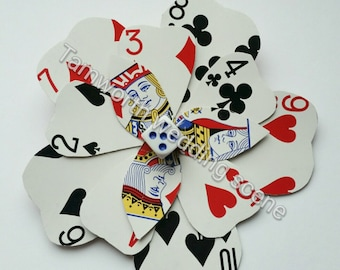 Handmade playing card rose mixed suits hairclip brooch
