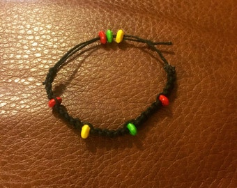Green Yellow and Red Beaded Black childs Bracelet