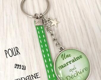 porte-clés a message personnalisé thème marraine ton vert
