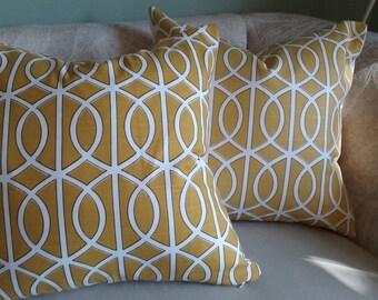 Yellow pillow cover, Mustard yellow pillow, yellow, geometric, pillow cover, accent pillow, fall, decorative pillow, 18x18, home decor