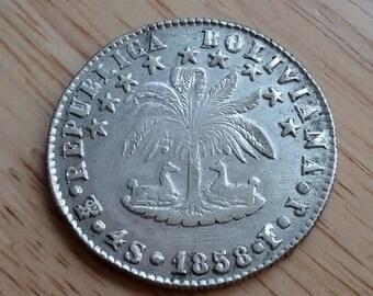 Bolivia 4 Soles 1858 pts-fj AU/ UNC Silver