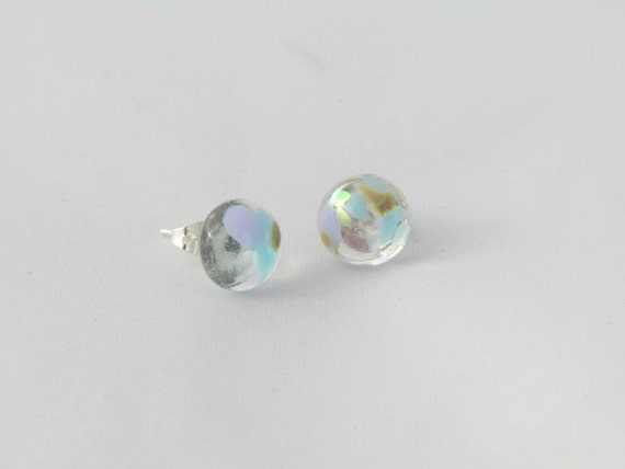 Seaside sparkle blue stud earrings