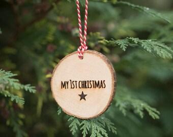 My 1st Christmas Hanging Christmas Tree Decoration - Engraved Wooden Log Slice Christmas Decoration