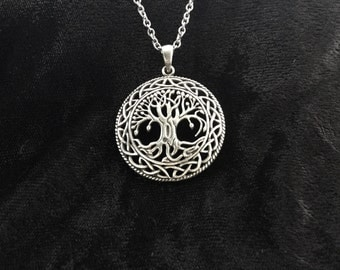 Large Handcast 925 Sterling Silver Celtic Tree of Life Pendant + Free Chain