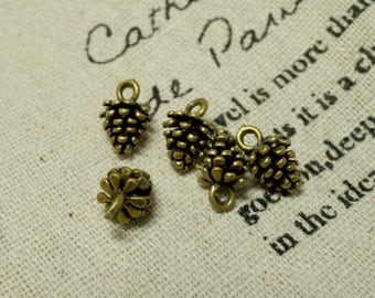 Pine cone charms 2 antique bronze vintage style pendant charm jewellery supplies C28