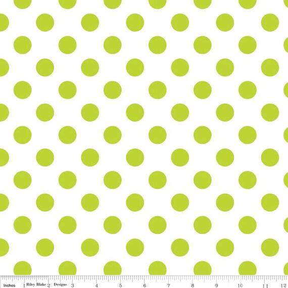 Lime Green Polka Dot Fabric - Riley Blake Medium Dot - Green and White Dot Fabric