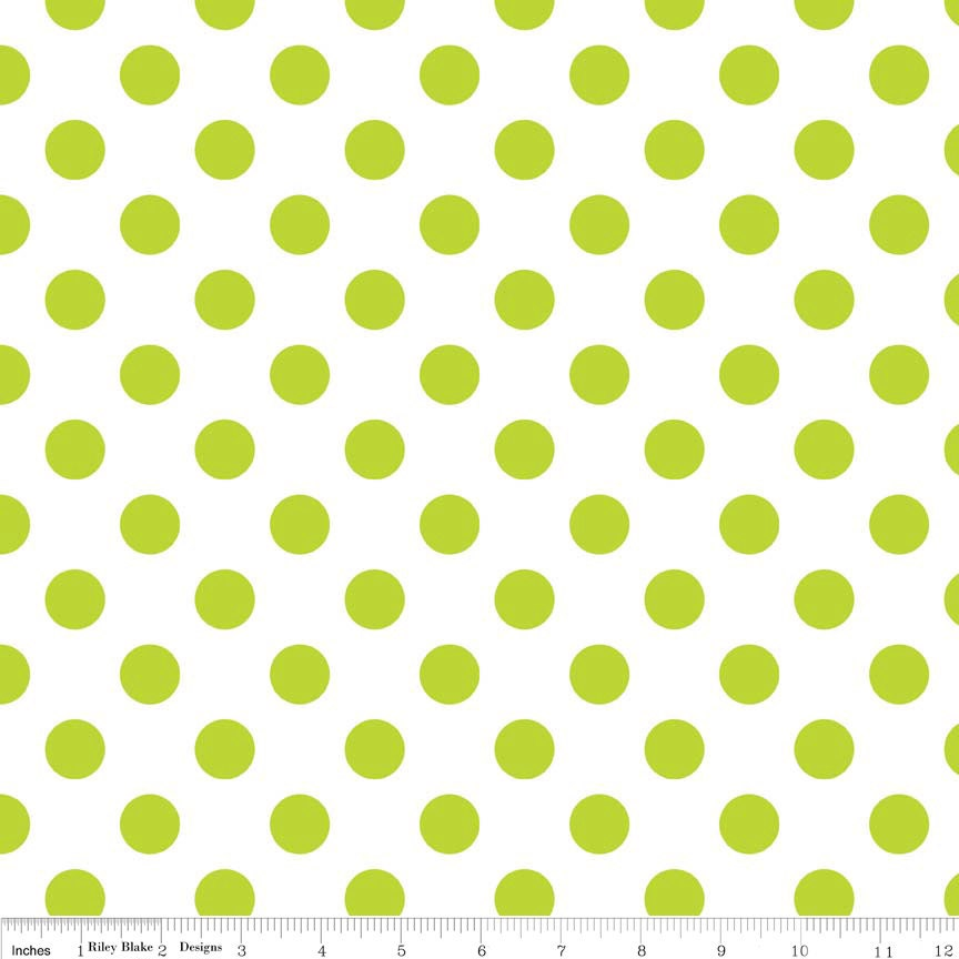 Polka Dots Lime Green Fabric - Quilting Cotton Printed Fabric ...