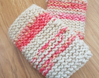 Strawberry Pink and Cream Fingerless Gloves Handwarmers OOAK