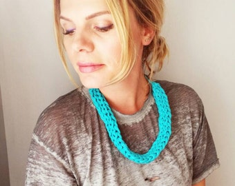 T Shirt Yarn Necklace Blue Recycled Necklace Upcycled Necklace Breastfeeding Necklace
