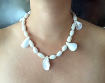 Coral & Sea Shell Necklace White with Pearl Beads