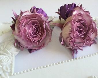 Flower bridal set Purple bridal set Purple flower set Flower bracelet bridesmaid Purple flower barrette Sunset Purple Flower hairclip