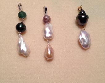Freshwater, gemstone and tahitian pearl pendants bespoke.
