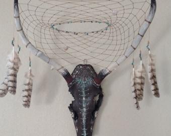 Painted Elk Skull Dreamcatcher