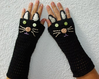 "50% OFF Crochet Gloves: ""ANIMAL GLOVES"" Fingerless Gloves Black Cat Gloves Hand Warmers Hand Knit Black Cats Mittens Winter accessory A20"