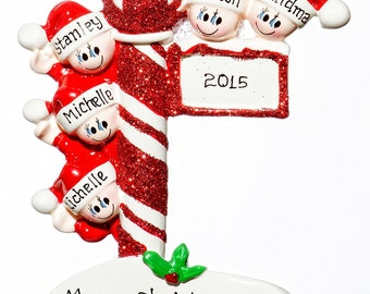 Personalized Ornament-Street Post Family of Five(5)-Free Gift Bag Included