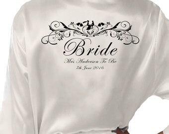 Personalised Ivory Satin Robe / Bridal Dressing Gown. Bride& Groom Design, For All the Bridal Wedding Party