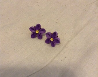 Purple flower post earrings