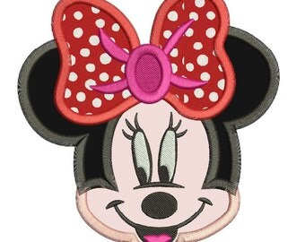 Minnie Mouse Face Applique Machine Embroidery Design 3 sizes instant download