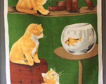 "Vintage Irish Linen Cat Tea Towel Titled ""Temptation"""