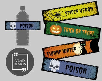 4 Design Ready to print Halloween's Day DIY Printable Water Bottle Labels Halloween's Party Water Bottle Labels