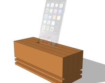 Modern Phone Speaker Digital Plans, Phone Amplifier, Wooden Phone Dock