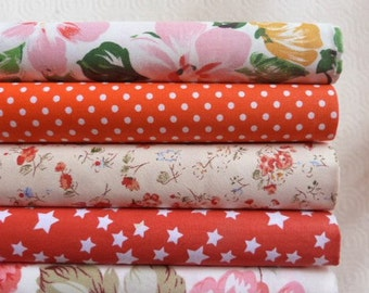 5 fabric coupons Quilt/sewing 40 x 50 cm FLOWERED pea stars 021016