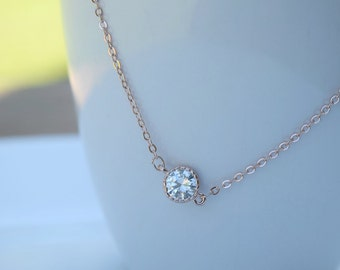 Cubic Zirconia rose gold necklace,  charm necklace, bridesmaid gift, gift necklace, RG2