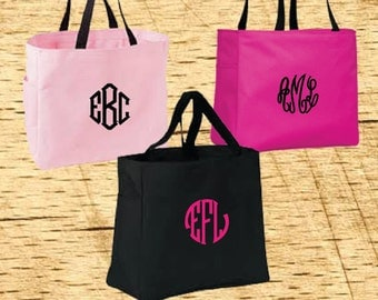 Embroidered Monogram Tote bag, Monogram Tote, bridesmaids gift, wedding tote, maid of honor gift, Embroidered Totebag