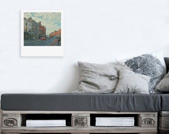 """Custom Polaroid Style Cotton Canvas Print with Copyright Photograph of Dublin - """"Street Life"""", FREE SHIPPING, 3 sizes available"""