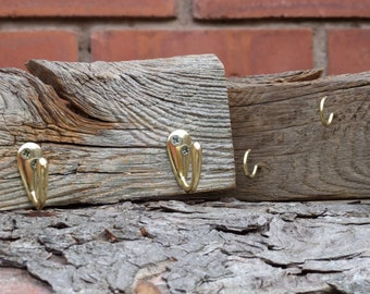 Rustic Weathered Grey Oak Hook Boards - Pair of Unique Wall Hanging Oak key & Coat racks - Great for a Corner or Alcove - Hand Made in Wales