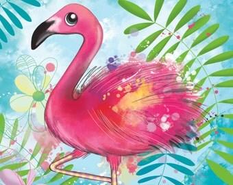 Nature Flamingo fabric coupon