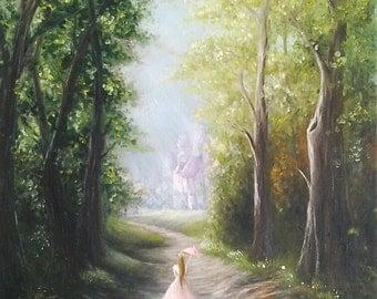 Original Fairytale Oil Painting Princess Amrela Green Forest Princess Room Decor *Forest Princess*