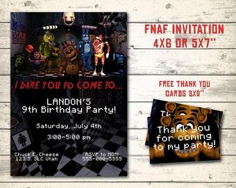 """Five Nights at Freddy's invitation, FNAF invitation, FNAF birthday invitation. Digital, bonus - 12 thank you cards 3x2"""" each!"""