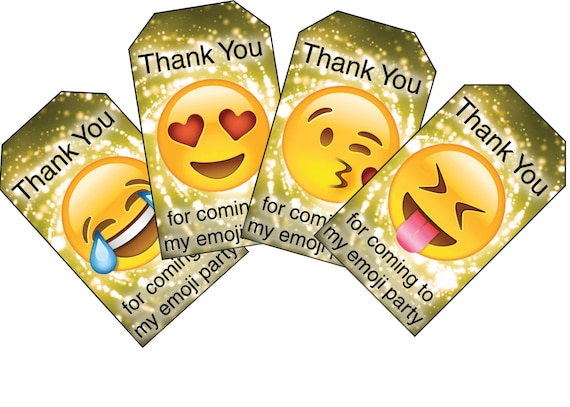 Gold Emoji Thank You Party Tags