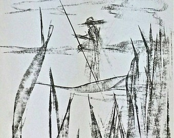 Really beautiful charcoal drawing. Stylish and elegant. Quiet atmosphere and oriental thematic. Water, plants and nature. Remains abstract.