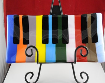 Colorful piano key serving dish