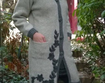 Hand knitted wool coat