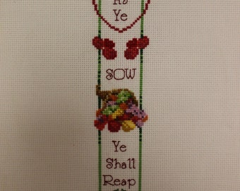 Finished Cross Stitch-As Ye Sow Ye Shall Reap-Unframed
