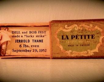 Vintage La Petite Matchbox Birth Announcement, 1952, Made in Sweden