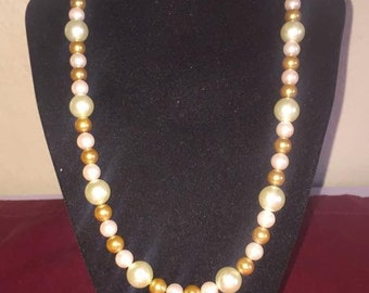 Handmade Multi Color Pearl Bead Necklace